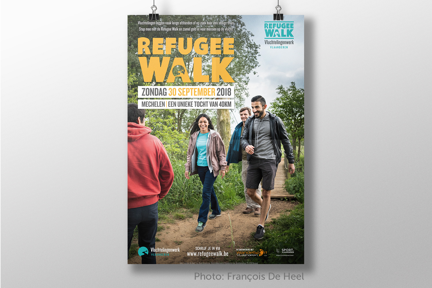 Greyclouds.be - Bert Blondeel | Design for print: poster - Refugee Walk 2018 (photo by Francois De Heel)