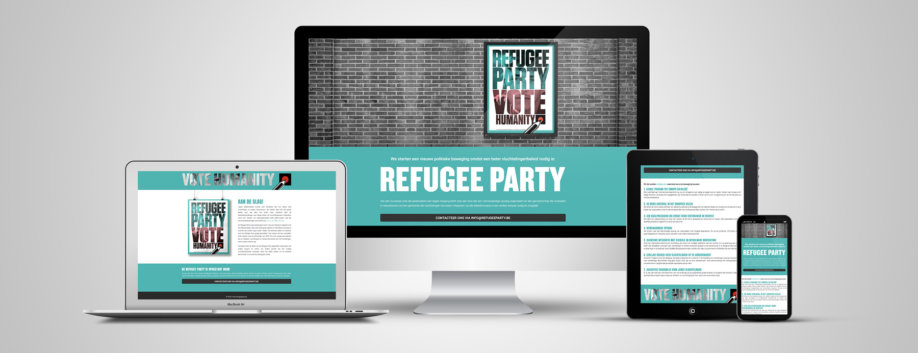 GreyClouds - webdesign | Refugee Party - www.refugeeparty.be (in opdracht van Vluchtelingenwerk Vlaanderen)